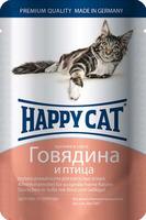Happy Cat с говядиной и птицей в соусе 100 г