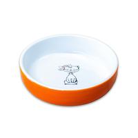 Миска керамическая керамикАрт 370мл кошка с бантиком оранжевая,лиловая,голубая