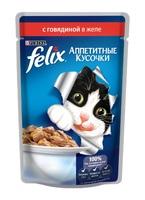 Felix Аппетитные кусочки с говядиной в желе, 85 гр.