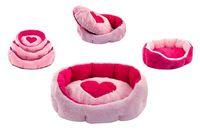 Лежак ZOO-M Pantera овальный пухлый розовый 45*36*15см