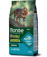 Monge 1.5кг B.WILD GF для кошек стерелизованных лосось горох