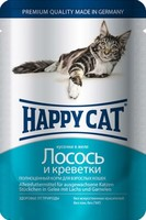 Happy Cat с лососем и креветками в желе 100 г