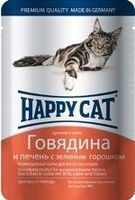Happy Cat с говядиной, печенью и горохом в желе 100 г