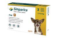 Симпарика таблетки для собак от блох и клещей 5мг, вес 1,3-2,5 кг 3 табл/уп