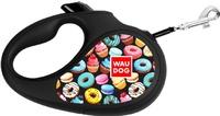"""Поводок-рулетка для собак Collar WAUDOG R-leash, рисунок """"Пончики"""", S, до 15 кг, 5 м, светоотражающая лента"""
